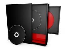 Svarten och det röda cd fallet boxas Vektor Illustrationer