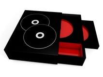 Svarten och det röda cd fallet boxas Royaltyfri Illustrationer