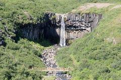 Svartifoss瀑布在冰岛。 免版税库存图片