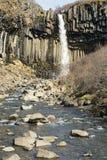Svartifoss瀑布 库存照片