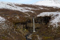 Svartifoss водопад в национальном парке Skaftafell стоковое изображение rf