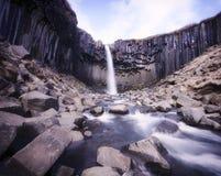 Svartifoss (黑秋天)瀑布Skaftafell Vatnajökull国家公园冰岛 免版税图库摄影