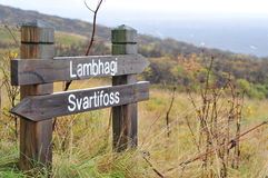 Svartifoss road sign Royalty Free Stock Photos