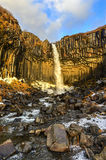 Svartifoss Water in Early Winter Stock Photography