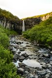 Svartifoss waterfall from above, with basalt columns, Iceland in Royalty Free Stock Image