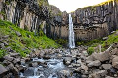 Svartifoss waterfall from above, with basalt columns, Iceland in Royalty Free Stock Photo