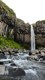 Svartifoss waterfall from above, with basalt columns, Iceland in Stock Photo