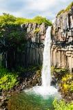 Svartifoss waterfall with basalt columns. Royalty Free Stock Image