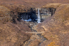 Svartifoss waterfall. Is located in the National Park of Vatnajokull, Iceland Royalty Free Stock Image