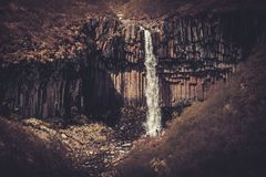 Svartifoss waterfall in Skaftafell National Park.  Stock Photos