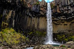 Svartifoss waterfall in Skaftafell National Park.  Royalty Free Stock Photo