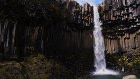 Svartifoss waterfall in Skaftafell National Park.  stock video footage