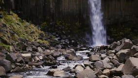 Svartifoss waterfall in Skaftafell National Park.  stock footage