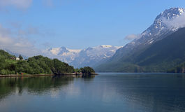 Svartisen glacier with rising clouds in Norway Stock Photography