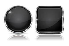 Svartknappar med kromramen runda och fyrkantiga symboler för 3d med reflexion royaltyfri illustrationer