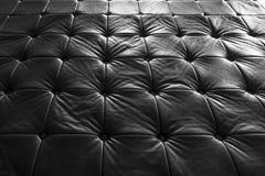 Svartlädersoffa, modellyttersidatextur Närbild av inre material för designgarneringbakgrund royaltyfri fotografi