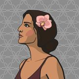 Svartmuskig flicka med blomman vektor illustrationer
