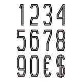Svartnummer med valutatecken av den amerikanska dollaren och euroet Vektorsymboler Stock Illustrationer