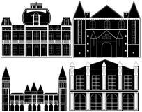 Svartslottar på vit bakgrund stock illustrationer