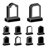svartsymbol för gravsten 3d Vektor Illustrationer