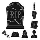 Svartsymboler för begravnings- ceremoni i uppsättningsamlingen för design Begravning- och attributvektorsymbolet lagerför rengöri vektor illustrationer