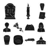 Svartsymboler för begravnings- ceremoni i uppsättningsamlingen för design Begravning- och attributvektorsymbolet lagerför rengöri stock illustrationer