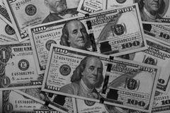 Svartvit abstrakt bakgrund för US dollar Royaltyfri Foto