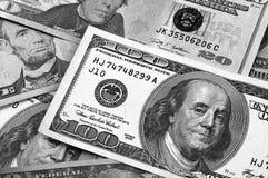Svartvit abstrakt bakgrund för US dollar Royaltyfria Foton