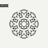 Svartvit abstrakt designbeståndsdel Dekorativ rund symbol logo Stilemblemmall vektor Arkivbild