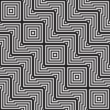 Svartvit abstrakt geometrisk modell optisk illusion Arkivfoton