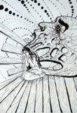 Svartvit abstrakt illustration, inre demonflickor Arkivfoton