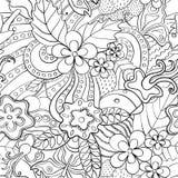 Svartvit abstrakt psykedelisk sömlös modell stock illustrationer