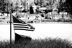 Svartvit amerikanska flaggan Royaltyfri Fotografi
