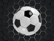 Svartvit bakgrund för fotbollfotbollvektor med bollen i stil 3d Arkivfoto