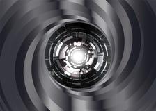 Svartvit bakgrund för metallfärgvirvel med den digitala ögonroboten Royaltyfri Foto