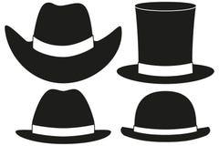 Svartvit beståndsdel för hattkonturuppsättning 4 vektor illustrationer