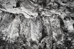 Svartvit bild av Reed Flute Cave, Kina royaltyfri fotografi