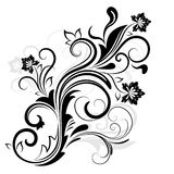 Svartvit blom- design Arkivbilder