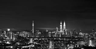 Svartvit cityscape Arkivfoto