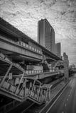 Svartvit cityscape i Bangkok Arkivbild