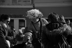 Svartvit clown Royaltyfria Bilder