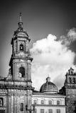 Svartvit detalj av den Bogota domkyrkan - Bogota, Colombia Royaltyfri Fotografi