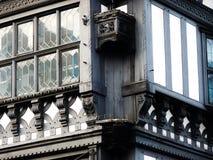 Svartvit detalj för Chester byggnadscheshire tudor Arkivfoton