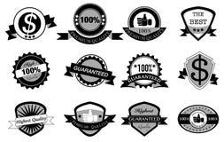 Svartvit etikettdesign, högst kvalitet, högvärdig kvalitet Arkivbild