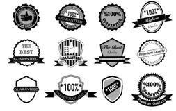 Svartvit etikettdesign, högst kvalitet, högvärdig kvalitet Royaltyfri Bild