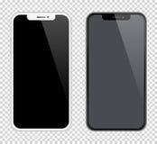 Svartvit färg för realistiska smartphonesmodeller Lagerföra vektorillustrationen för utskrift av advertizingen, rengöringsdukbest royaltyfri illustrationer