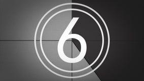 Svartvit filmledare Countdown med ljudet