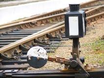 Svartvit fläck bredvid järnvägsspår Royaltyfria Bilder