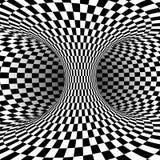 Svartvit fyrkantig optisk illusion Abstrakt illusionbakgrund också vektor för coreldrawillustration stock illustrationer