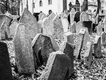 Svartvit gammal judisk kyrkogård i prague Arkivfoton